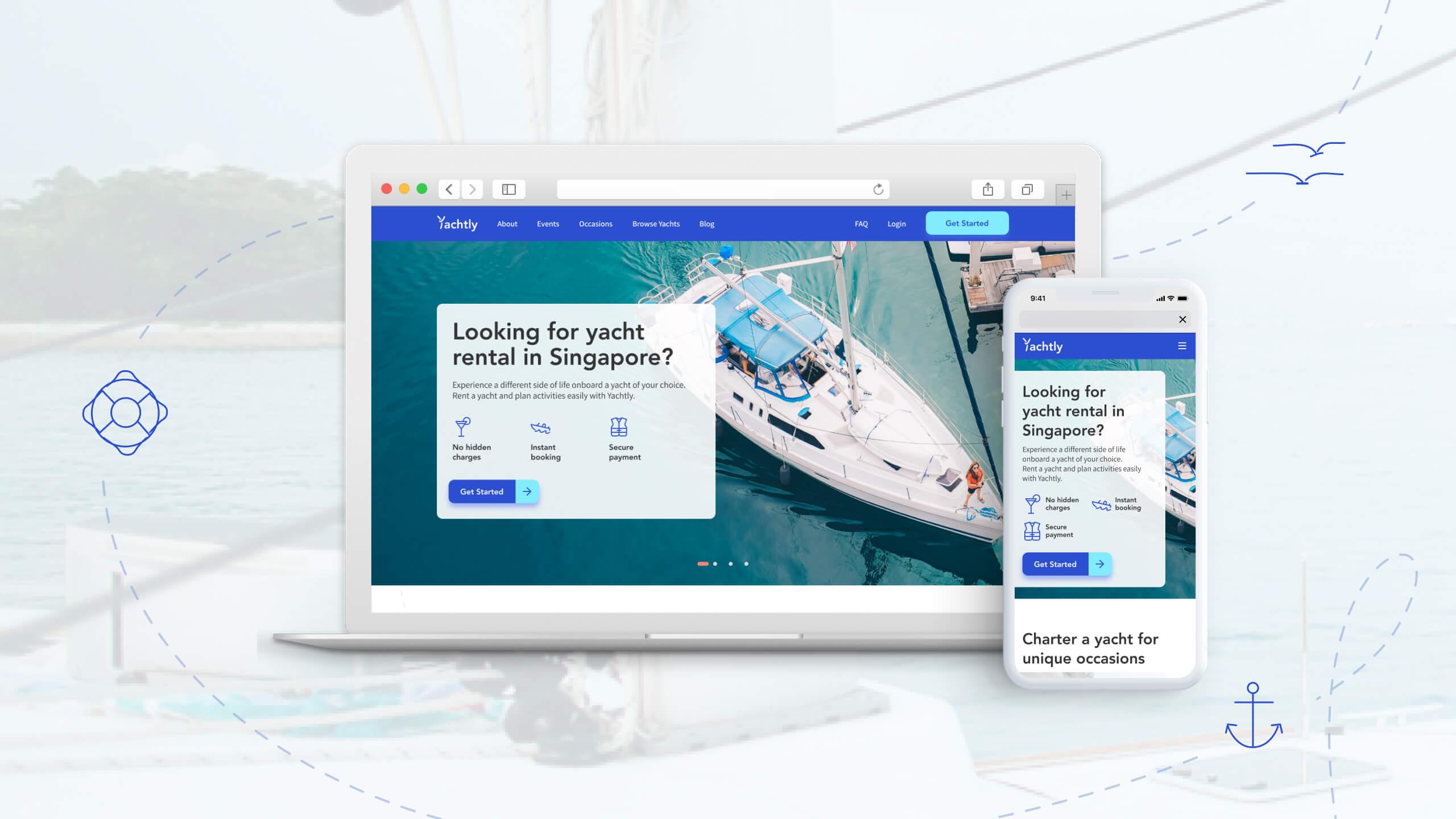 JIN Design Portfolio thumbnail - Yachtly mockup case study