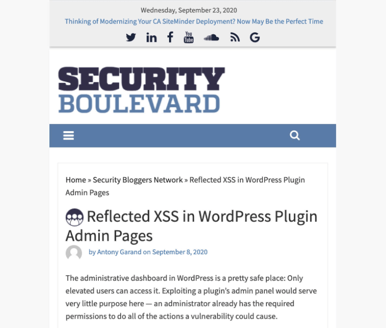 JiN Design Client thumbnail - Security Boulevard, Reflected XSS in WordPress Plugin Admin Pages